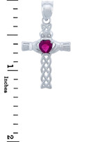 Silver Celtic Cross Pendant with Ruby CZ Heart