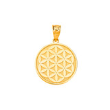 Flower of Life Disc-Medallion Pendant Necklace in Gold (Yellow/ Rose/White)