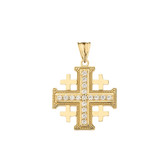Crusaders Diamond Cross Pendant Necklace in Gold (Yellow/Rose/White)