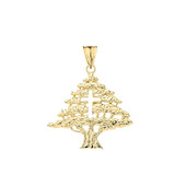 Lebanese Cedar Tree With Cut out Cross Pendant Necklace In Gold (Yellow/Rose/White)