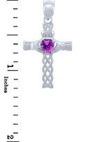 Silver Celtic Cross Pendant with Pink CZ Heart