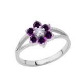 Dainty Milgrain Flower Personalized Birthstone Ring In 14K White Gold