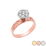 Popcorn Nugget 7mm .25cts Solitaire Ring in 10k Gold (Yellow/Rose/White)