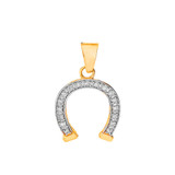 Lucky Diamond Horseshoe Pendant Necklace in Solid Gold (Yellow/ Rose/White)