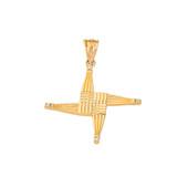Irish St. Bridget's Christian Wall Cross Diamond Pendant Necklace in Solid Gold (Yellow/Rose/White)