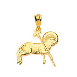 The Lamb of God Pendant Necklace in Solid Gold (Yellow/Rose/White)