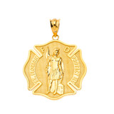 Saint Florian Firefighter Pendant Necklace in Solid Gold (Yellow/Rose/White)