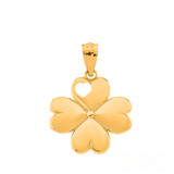 Lucky 4 Leaf Heart Clover Pendant Necklace in Solid Gold (Yellow/Rose/White)