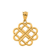 Interlocking Hearts Celtic Love Knot Pendant Necklace in Solid Gold (Yellow/Rose/White)