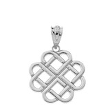 Interlocking Hearts Celtic Love Knot Pendant Necklace in Sterling Silver