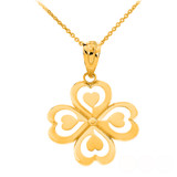 Good Luck Charm Shamrock Heart Clover Quartet Pendant Necklace in Solid Gold (Yellow/Rose/White)