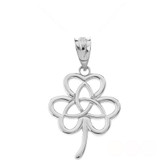 Celtic Triquetra Trinity Knot Flower Pendant Necklace in Sterling Silver