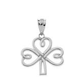 Celtic Irish Shamrock Pendant Necklace in Sterling Silver
