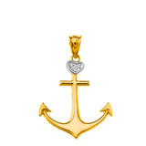 Nautical Ship Boat Anchor Diamond Pendant Necklace in Solid Gold (Yellow/ Rose/White)