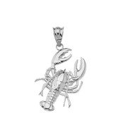 Sea Life Lobster Pendant Necklace in Sterling Silver