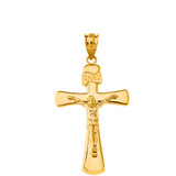 Jesus Christ Holy Cross in Solid Yellow Gold