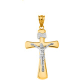 Jesus Christ Holy Cross in Solid Yellow Gold Two Tone