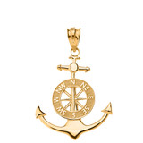 Mariner's Anchor Compass Charm Pendant Necklace in Solid Gold (Yellow/Rose/White)