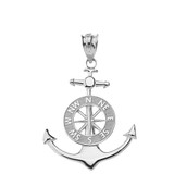 Mariner's Anchor Compass Charm Pendant Necklace in Sterling Silver