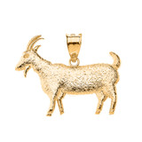 Goat Textured Charm Pendant Necklace in Solid Gold (Yellow/Rose/White)