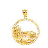 Historic Rome Colosseum Pendant Necklace in Solid Gold (Yellow/Rose/White)