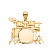 Rock Band Drum Set Pendant Necklace in Solid Gold (Yellow/Rose/White)