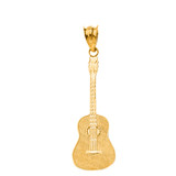 Musical Rock Band Acoustic Guitar Pendant Necklace in Solid Gold (Yellow/Rose/White)