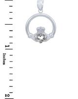 Silver Claddagh Clear CZ Heart Charm Pendant (S)