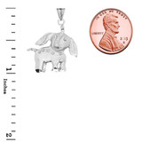 Elephant Calf Pendant Necklace In Sterling Silver