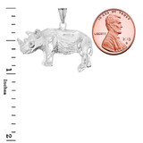 Rhino Pendant Necklace In Sterling Silver