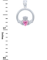 Silver Claddagh Pink CZ Heart Charm Pendant (S)