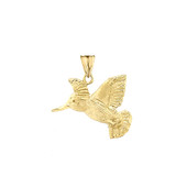 Hummingbird Pendant Necklace In Gold (Yellow/Rose/White)