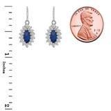 Genuine Sapphire Marquise-Shaped Fancy Dangle Earrings in Sterling Silver