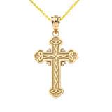Diamond Celtic Trinity Cross Pendant Necklace in Gold (Yellow/Rose/White)