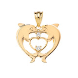 Heart Shaped Double Dolphin Pendant Necklace in Gold (Yellow/Rose/White)