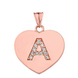 Diamond Initial A-Z Heart Pendant Necklace in Rose Gold