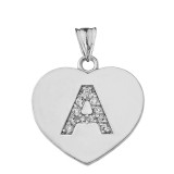 Diamond Initial A-Z Heart Pendant Necklace in White Gold