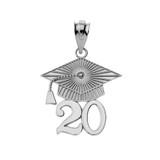 Sterling  Silver 2020 Graduation Cap Pendant Necklace