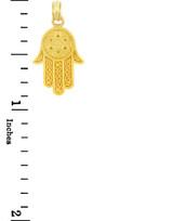 Yellow Gold Chamseh Hamsa Judaica Charm Pendant