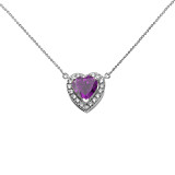 Elegant Sterling Silver Diamond and Personalized (LC) Birthstone Heart Solitaire Necklace