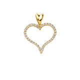Diamond Open Heart Charm Pendant Necklace in Gold (Yellow/Rose/White)