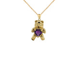 Teddy Bear Amethyst Heart Charm Pendant Necklace in Gold (Yellow/Rose/White)