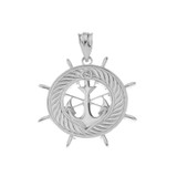 Sterling Silver Ship's Wheel with Anchor Pendant Necklace