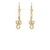 Dainty Diamond Treble Clef Heart Music Note Earrings in Gold (Yellow/Rose/White)