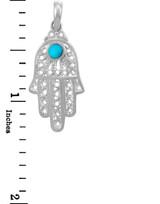 Jewish Charms and Pendants - White Gold Turquoise Filigree Hamsa Pendant