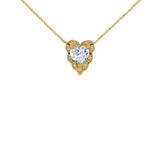 Halo Diamond Heart-Shaped Personalized (LC) Birthstone and Necklace in Yellow Gold