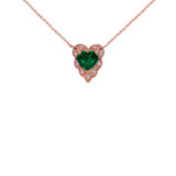 Halo Diamond Heart-Shaped Personalized (LC) Birthstone and Necklace in Rose Gold