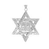 Detailed Star of David (Hebrew) Ten Commandment Book Pendant Necklace in Sterling Silver (Large)