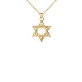 Sparkle-Cut and Milgrain-Edged Star of David Pendant Necklace in Gold (Yellow/Rose/White)