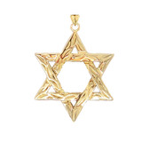 Detailed Star of David Pendant Necklace in Gold (Yellow/Rose/White) (Large)